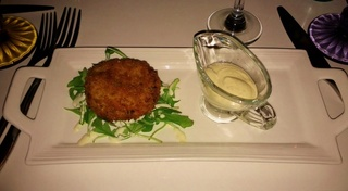 Crab Cake on Greens at Lily mae's.jpg